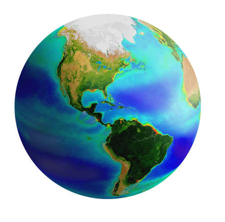 raster image of earth from america side over white background photo