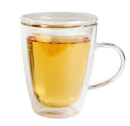 Tea in clear glass mug with double wall retains heat  photo