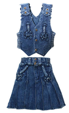 blue denim dress for girls - a waistcoat and skirt on a white background, isolated photo