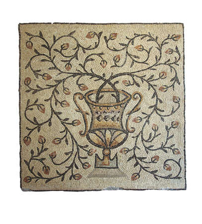 mosaic floor: vase with flowering branches, ancient Byzantine mosaics, the 5th century,