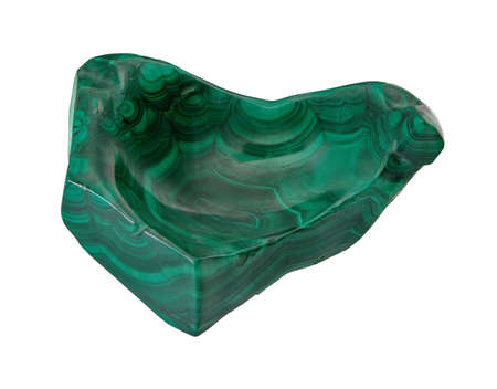 malachite: Polished Natural Malachite on a white background, isolated