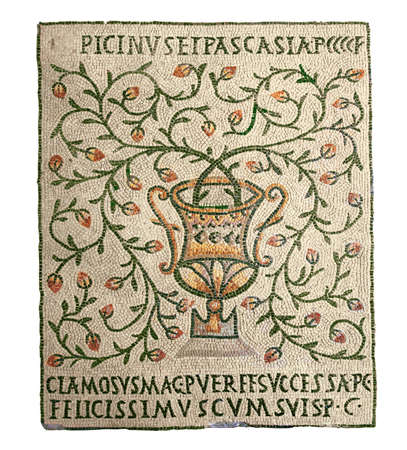 byzantine: vase with flowering branches, ancient Byzantine mosaics, the 5th century,