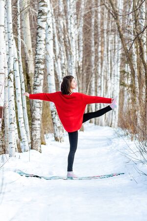 Yoga in the snow. Girl practicing yoga in the Park. Time of year winter. Snow-covered trees. Banco de Imagens