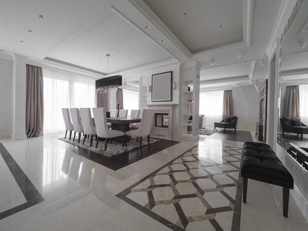 Modern minimalistic dining room Stock Photo - 98886484