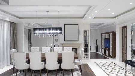 Modern minimalist dining room Stock Photo