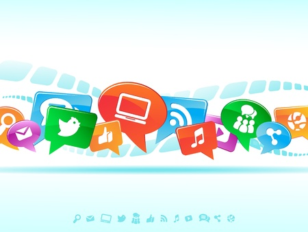 wireless network: Social Network background of the icons vector