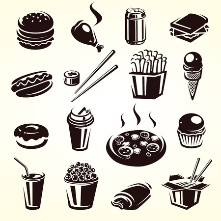 Fast food set  Vector illustration