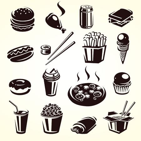 perro caliente: Set de comida r�pida ilustraci�n vectorial Vectores