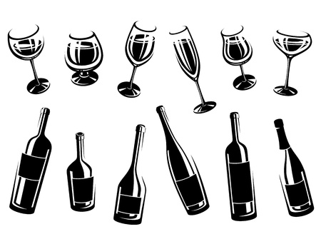 botella champagne: colección alcohólico vidrio Ilustración vectorial