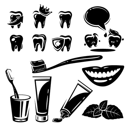 Dental element and Icons set  Vector illustration Vector