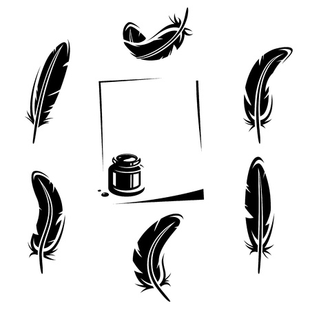 black feather: Feather set  Vector