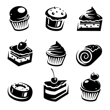 cupcakes isolated: Cake set  Vector