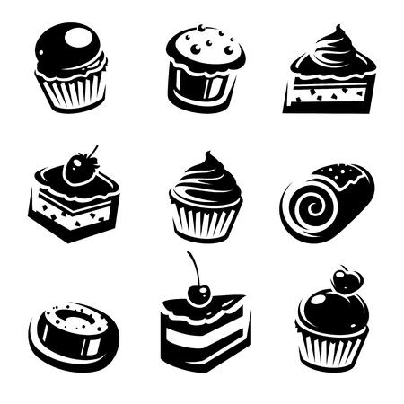 confection: Cake set  Vector