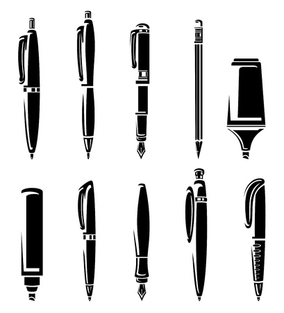 Pen and pencil markers collection set  Vector Illustration