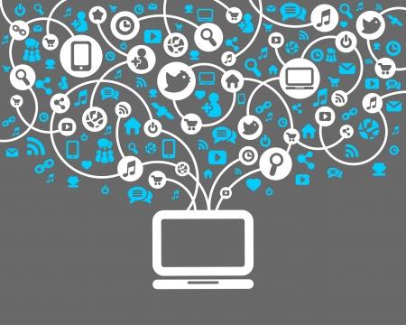 the internet: Network sfondo sociale del vettore icone