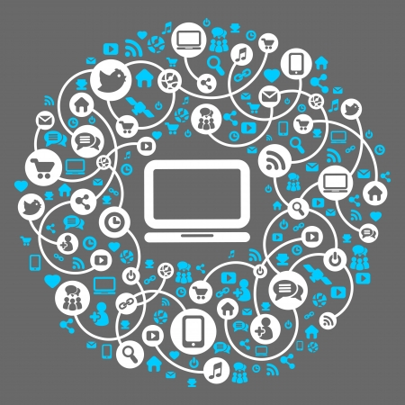 Social media, background of the icons vector