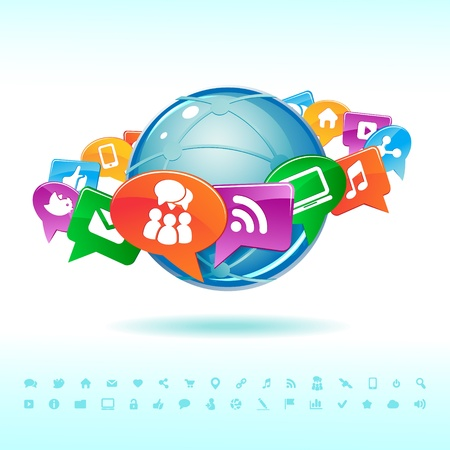 symbols of internet: Social background network of the icons vector Illustration
