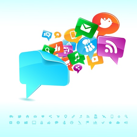 Social background network of the icons vector Illustration