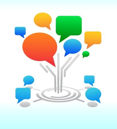 Social media  Tree Forum chat bubbles Illustration