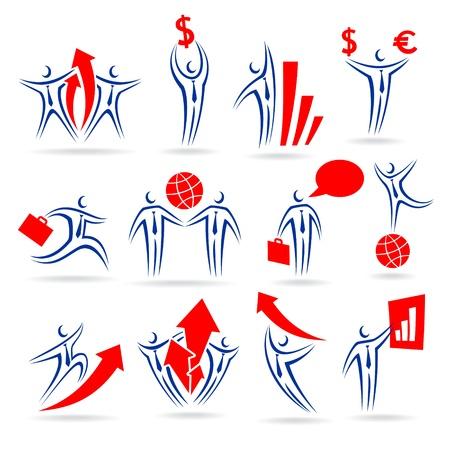 business man icons set Illustration