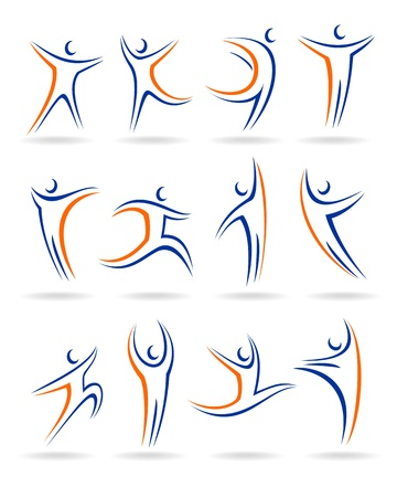 Abstract people icons collection Illustration