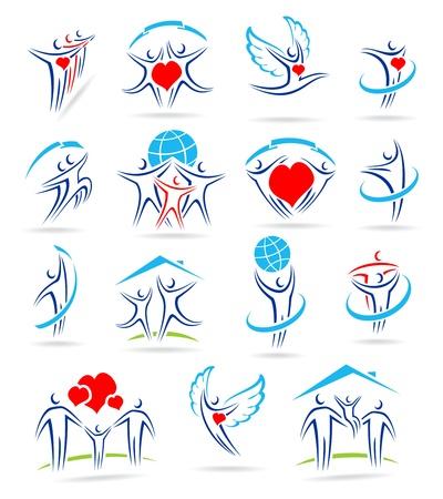 paloma caricatura: conjunto de iconos de la familia feliz y Vectores