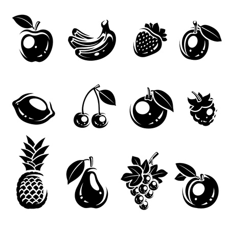 Collection of fruits set