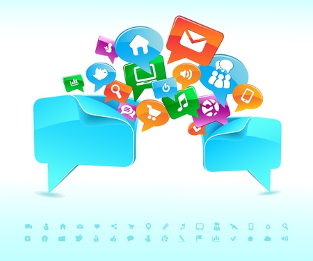 Social background network of the icons  Иллюстрация