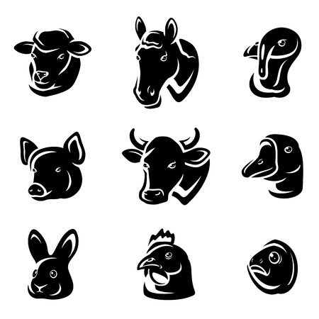 cow head: Farm animals set