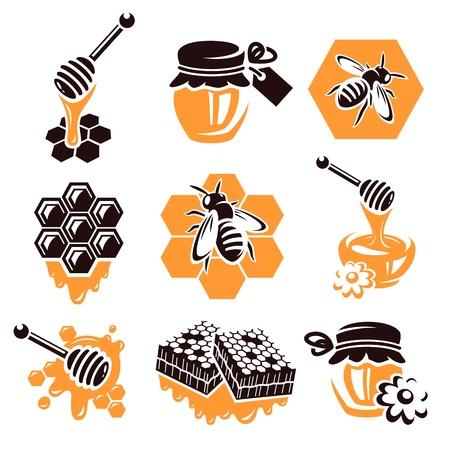 abejas panal: Miel Vector set