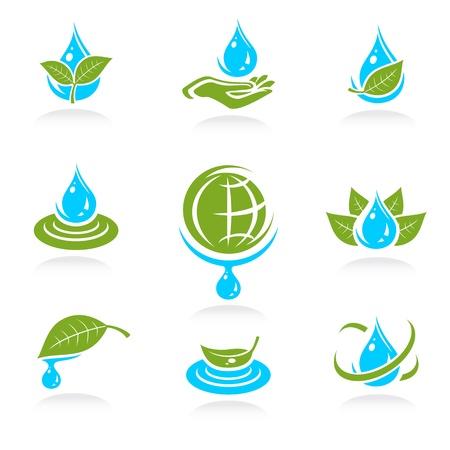 ahorrar agua: agua icon set Vector