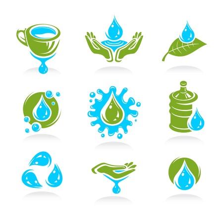 water icon set  Vector  Illustration