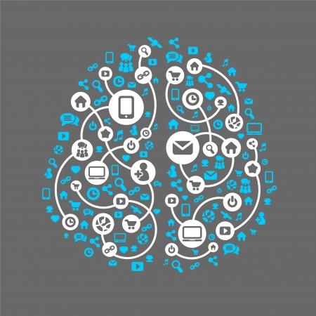 Resumo c�rebro humano e as m�dias sociais, fundo do vetor �cones