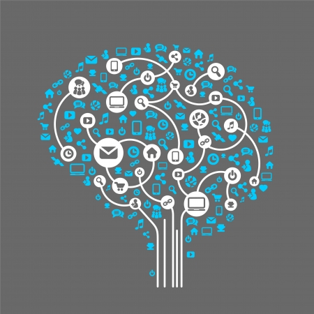 brain work: Abstract human brain and social media, background of the icons vector Illustration