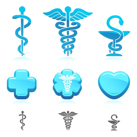 caduceus: Medical symbol set  Vector