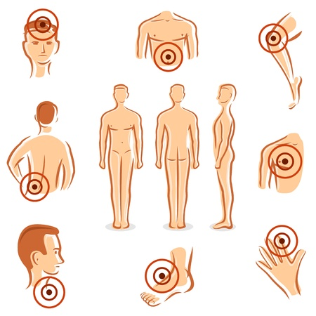 stomach ache: People with pain dots collection  Vector