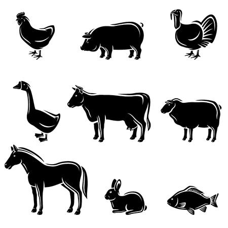 Landbouwhuisdieren instellen Vector Stock Illustratie