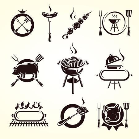 chorizos asados: Elementos Grill Grupo Vector