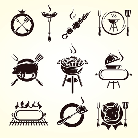barbecue grill: Grill elements set  Vector
