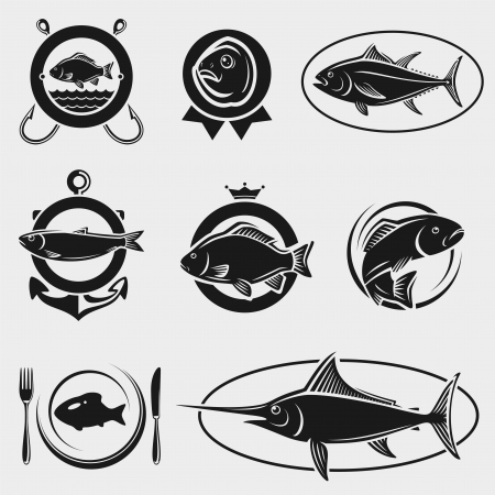 seafood background: Fish stamps and labels set  Vector