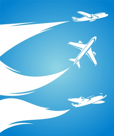 Airplane collection and blue background  Vector Stock Vector - 21479266