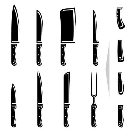viande couteau: Couteau set Vector