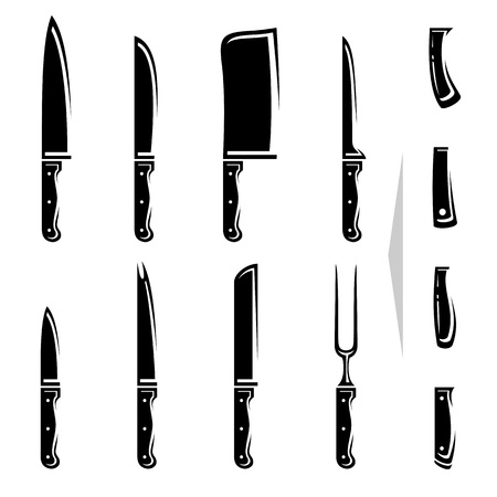 kitchen knife: Knife set  Vector