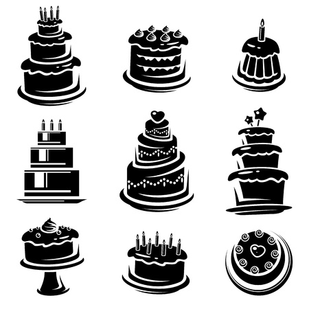 cakes background: Cake set  Vector  Illustration