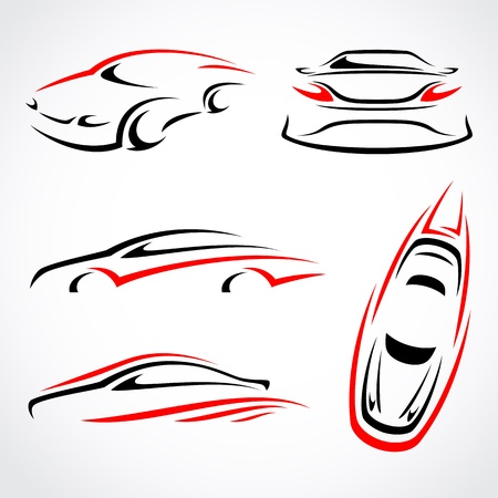 outline drawing: Cars abstract set  Vector Illustration