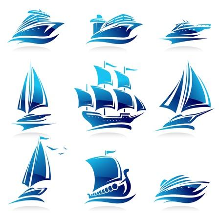 船セット  イラスト・ベクター素材