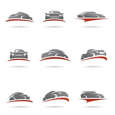 red sports car: Car set Illustration