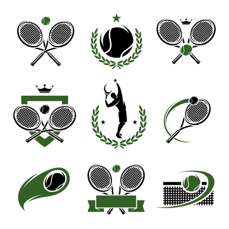 athletic symbol: Tennis labels and icons set
