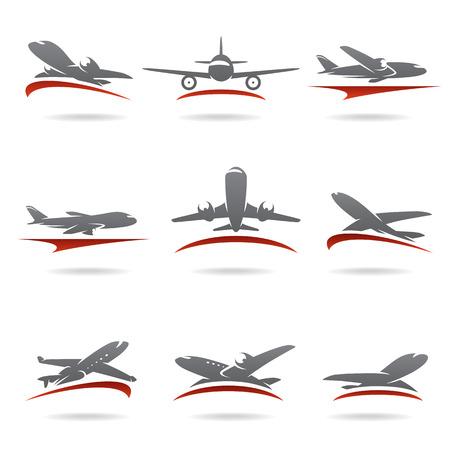 cargo plane: Airplane set  Vector