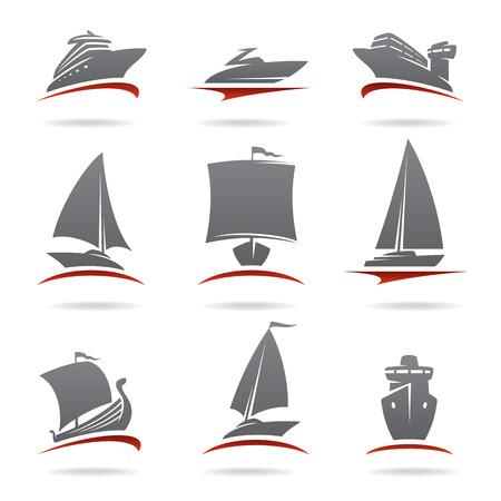 船のベクトルを設定します。  イラスト・ベクター素材